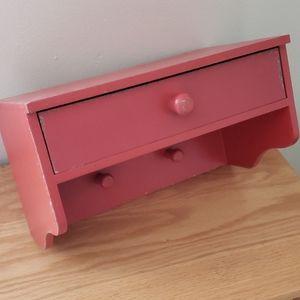 Red Rustic Hanging Shelf